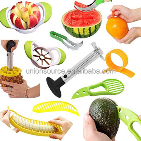 2021 Best Selling Fruit Slicer Peeler Set Stainless Steel Pineapple Corer Watermelon Slicer Orange Banana Peeler