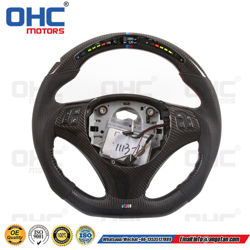 LED Carbon Fiber Steering Wheel Compatible with BMW E90 E92 M3 335i Models