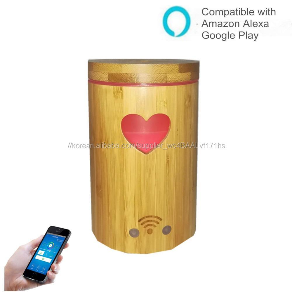160 ml 앱 bamboo diffuser 알렉사 가습기 Google 홈 compatible smart home appliance 와 led 밤 빛