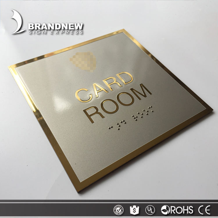 Etching high quality mirror stainless steel gold plate sign with braille card