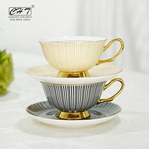 Wholesale stylish plaid decal ceramic latte cups bone cup and saucer set