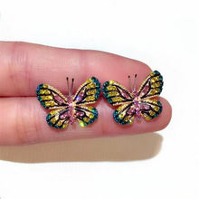 KM newest design earrimulticolor rhinestones cz infinity earring small butterfly wing earrings studs for girls christmas