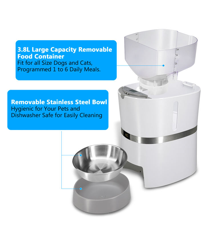 Automatic Pet Food Feeder With Stainless Steel Food Cats