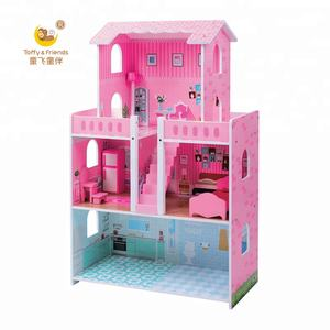 Toffy & Friends Wooden kids pretend role play dollhouse