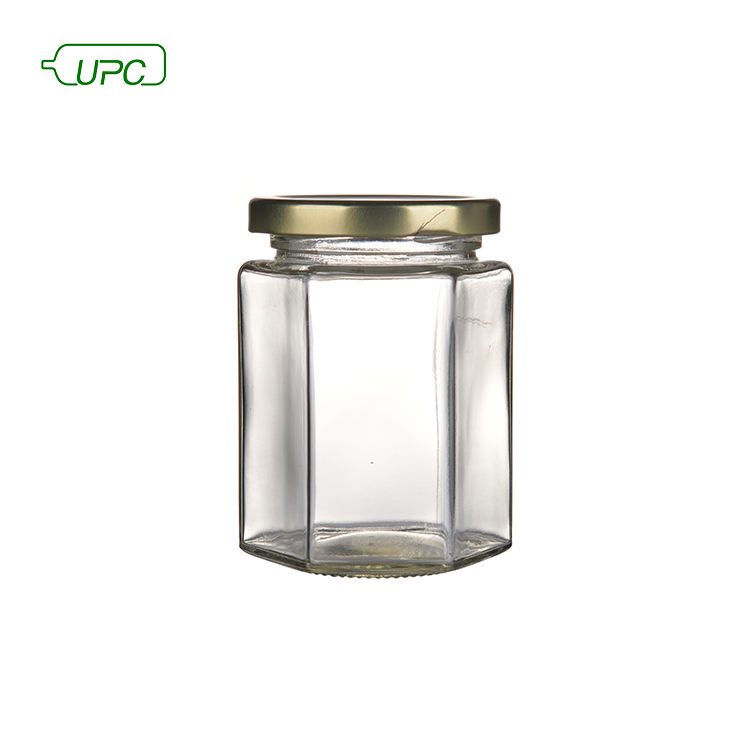 Wholesale hexagon jam glass jar with metal lid