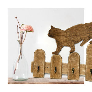 Factory Price Handmade Cat Shaped Wooden Key Holder