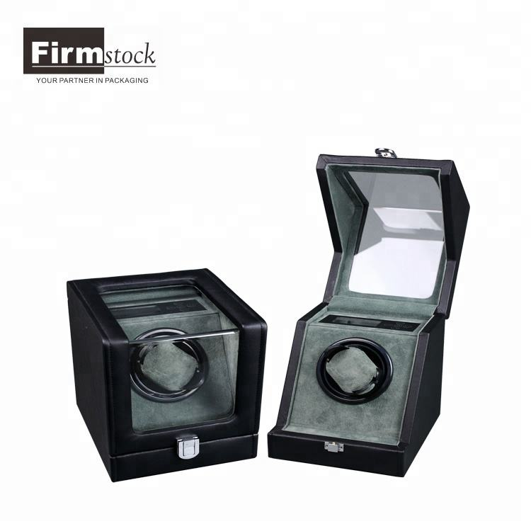 Luxury wooden leather single watch winder with clear plastic window automatic watch winder