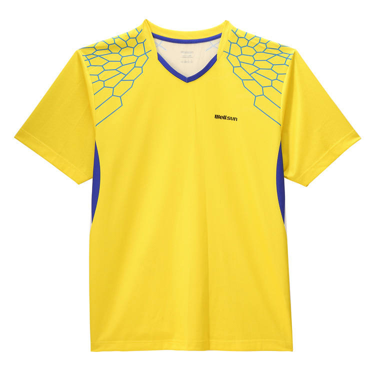 Men Yellow Quick Dry Table Tennis T Shirt Breathable Badminton Sports Tees