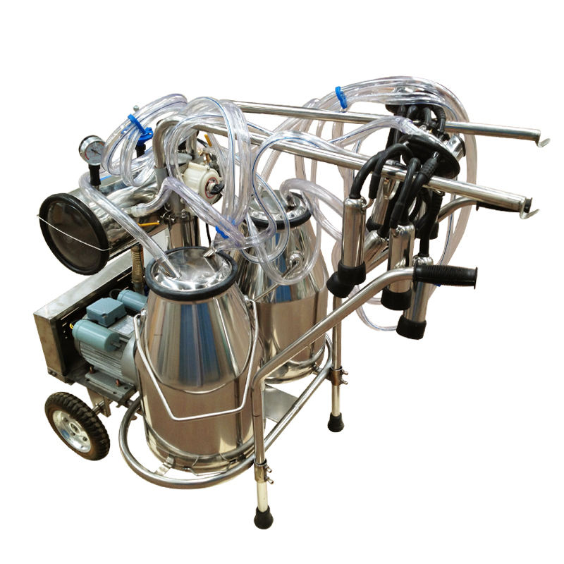 JHF-JN02 Double Bucket Vacuum Pump Portable Milking Machine For Cow/Goat Milking For Sale