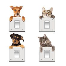 Cute dog and cat sticker for wall outlet, outlet decor