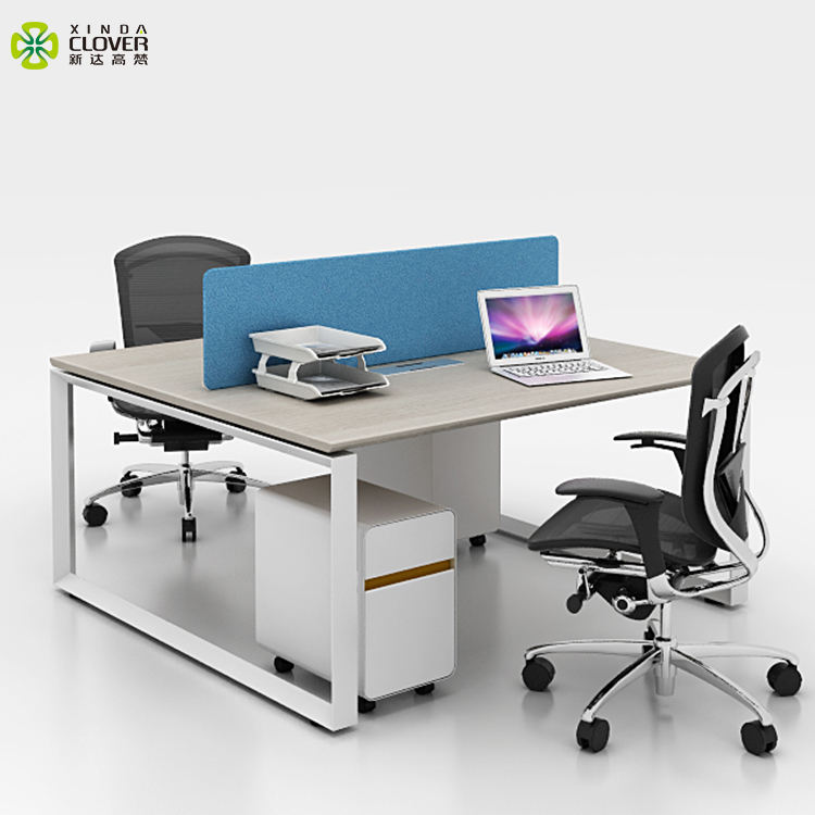 Foshan commercial Furniture simple steel frame concise easy fitting 2 seat office desk with drawer for staff divider workstation