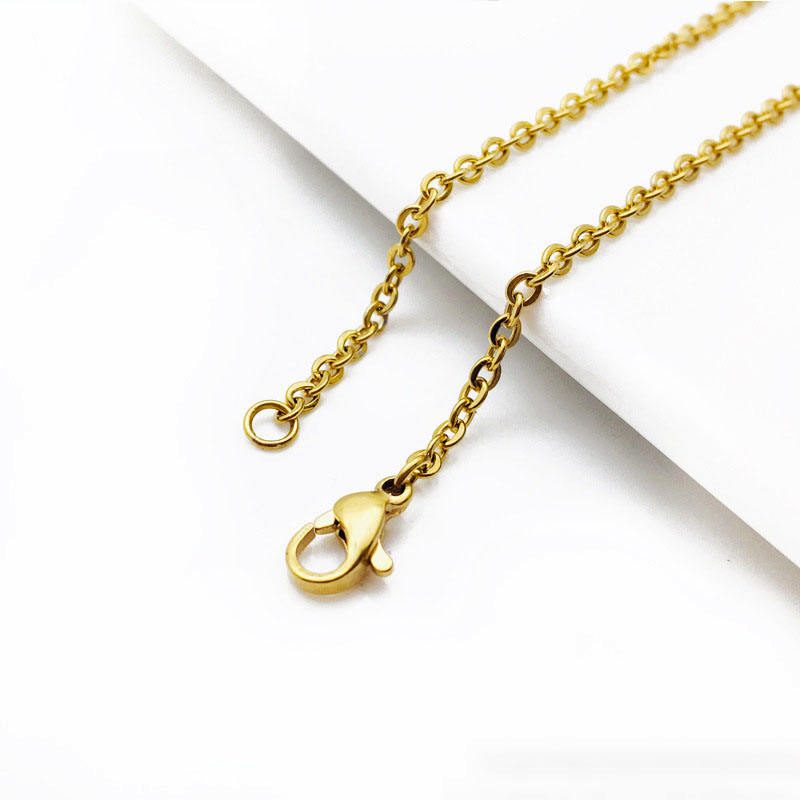 BCL1163 do not fade stainless steel necklace chain ,1.0mm 1.5mm 2mm flat link gold chain, yellow gold plated dainty chains