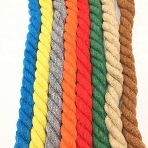 Factory supply colored cotton rope 3 strand twist