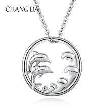 925 Sterling Silver Women Tiny Sea Cute Animal dolphin pendant necklace