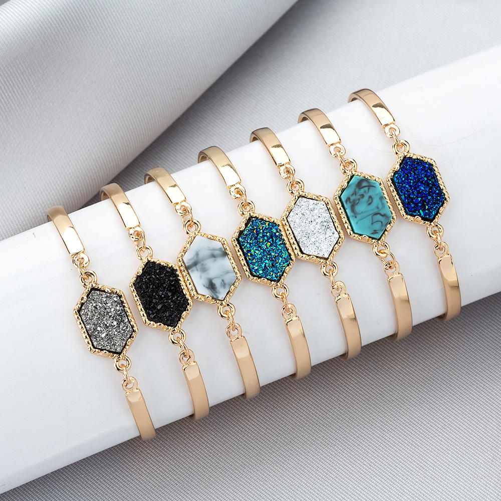 14 Colors Brand Jewelry Gold Color Crystal Stone Bracelet Hexagon Druzy Bangle Bracelet for Womens Gift