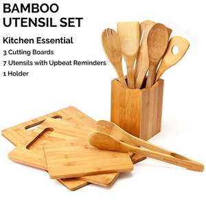 Wholesale 11 Potongan Kayu Bambu Cutting Board Set dengan Bambu Kitchen Set Alat