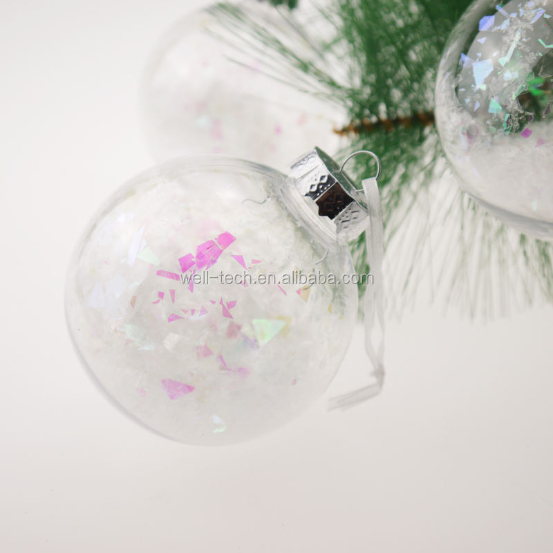 80mm Plastic Clear Ball With Christmas Tree Decorations