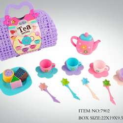 preschool toy education game afternoon plastic tea cup play set basket