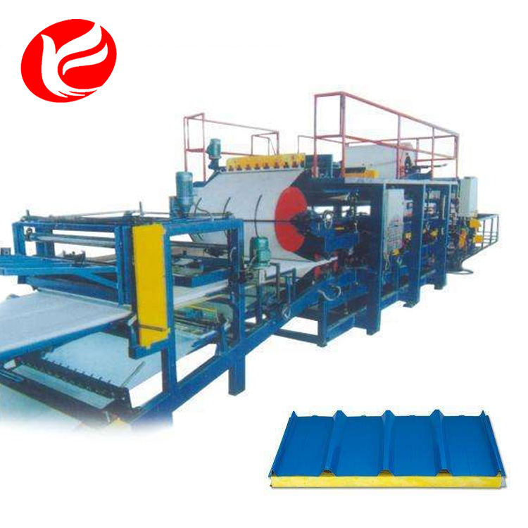 Competitive price horizontal color steel eps sandwich panel compounding machine