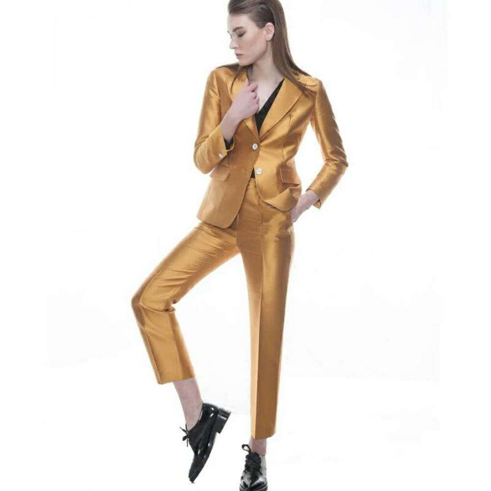golden color tuxedo suit jacket blazer women business ladies blazer suit ladies suits