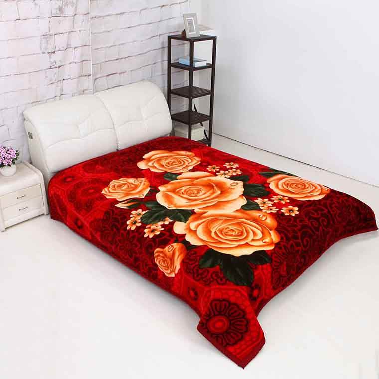 100% polyester wholesale Flower design 6.5kg embossed double ply royal mink blankets