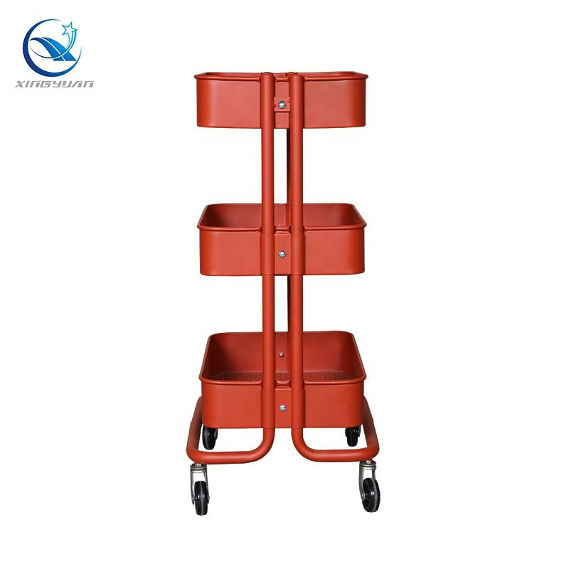 Hot sale 3 Tiers/Layers Removable Bathroom Kitchen Metal Basket Storage Rolling Trolley Carts
