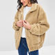 Ladies Camel Brown Fluffy Zip Up Faux Fur Teddy Winter Coat Jackets For Women