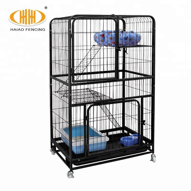 2 tier, 3 tier, 4 tier foldable with wheels portable welded wire metal cat cage