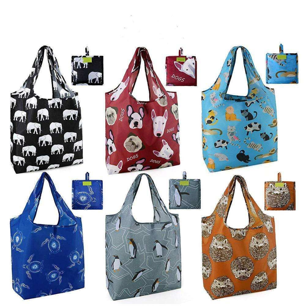 Reusable Shopping Bags Foldable Cute Animal Patterns Foldaway Grocery Bags Travel Beach Bags