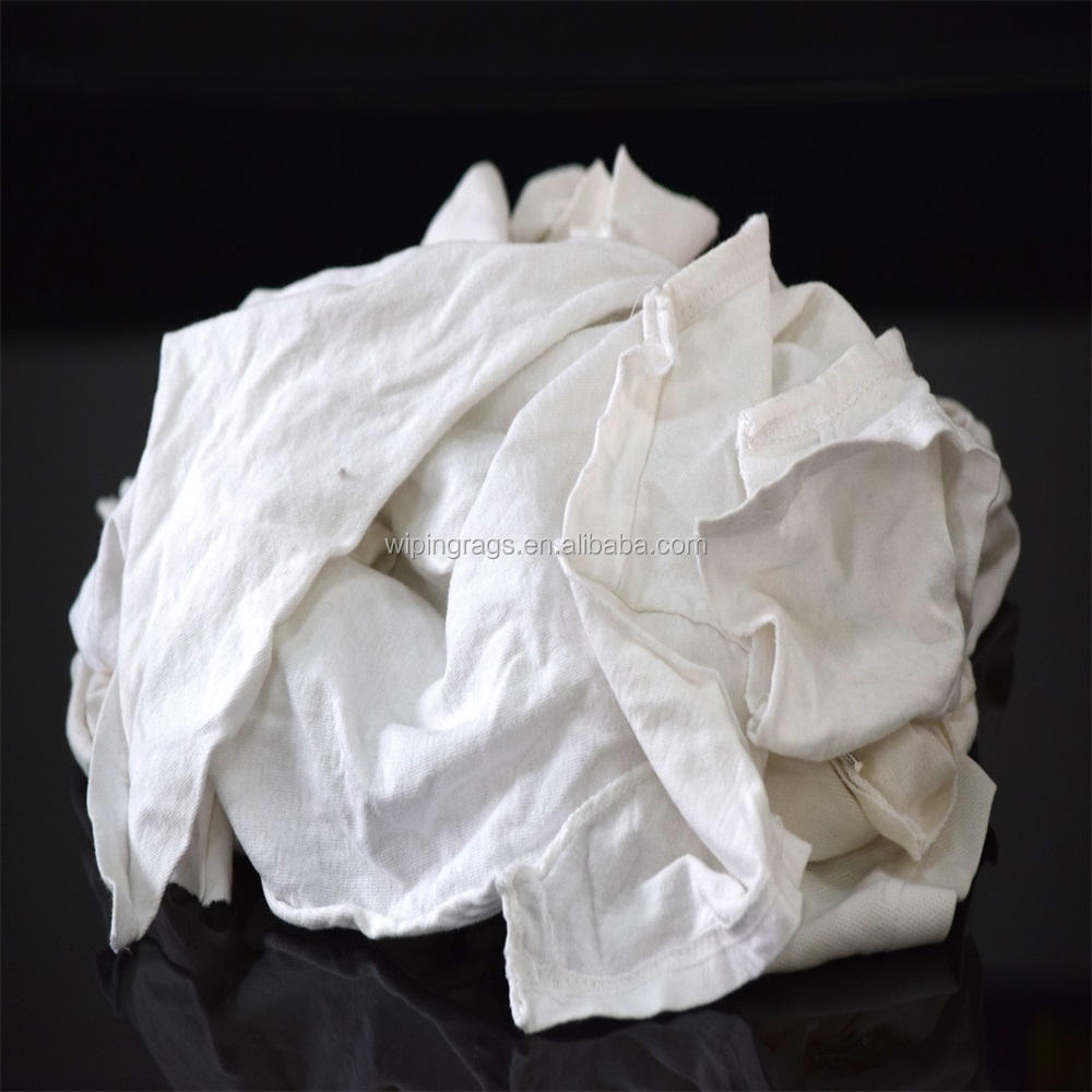 10kg bale of white knit t shirt wiping rags