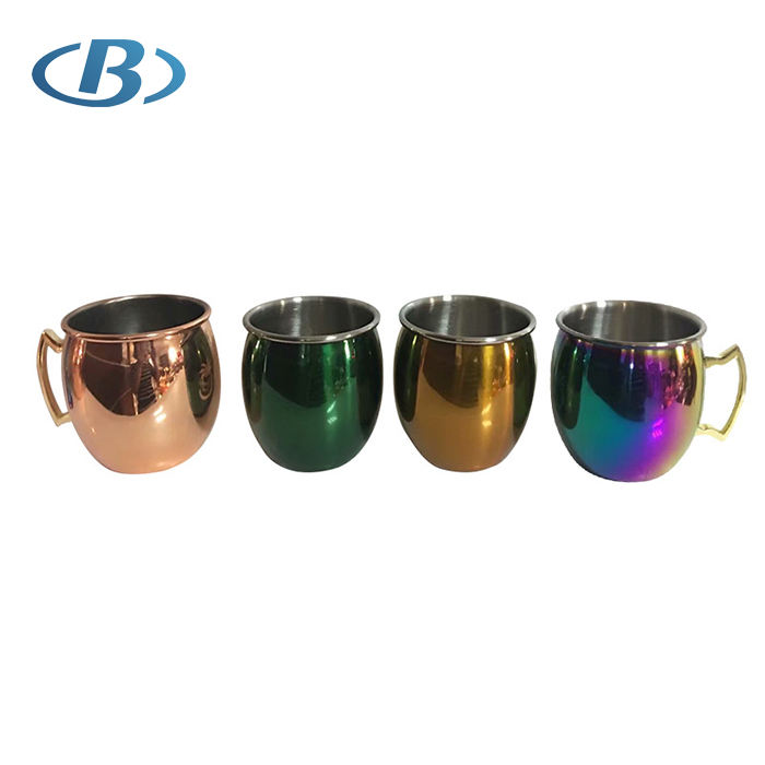 High Quality 16oz Stainless Steel Julep Moscow Mule Mug Beer Cup with Different Color