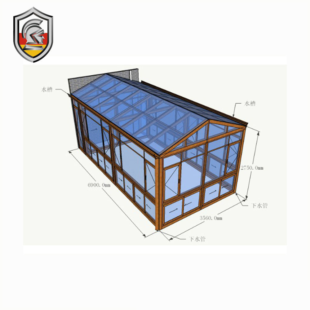 2017 Modern Design Waterproof Aluminum Alloy Small Glass Sunrooms