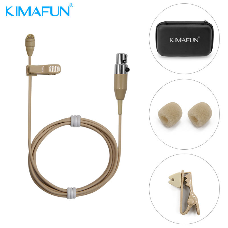Cheapest Mini beige condenser lavalier clip microphone with XLR connector KM-4050 with good price