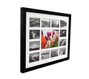 Black Frame with White Mat Displays 5x7 Photo and Twelve 2.5x3.5 Pictures Collage Photo Frame