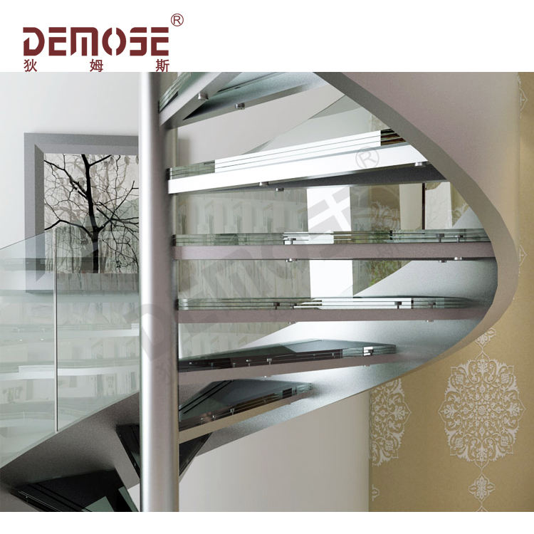 curved stair stringers for glass railing stairs with marble steps