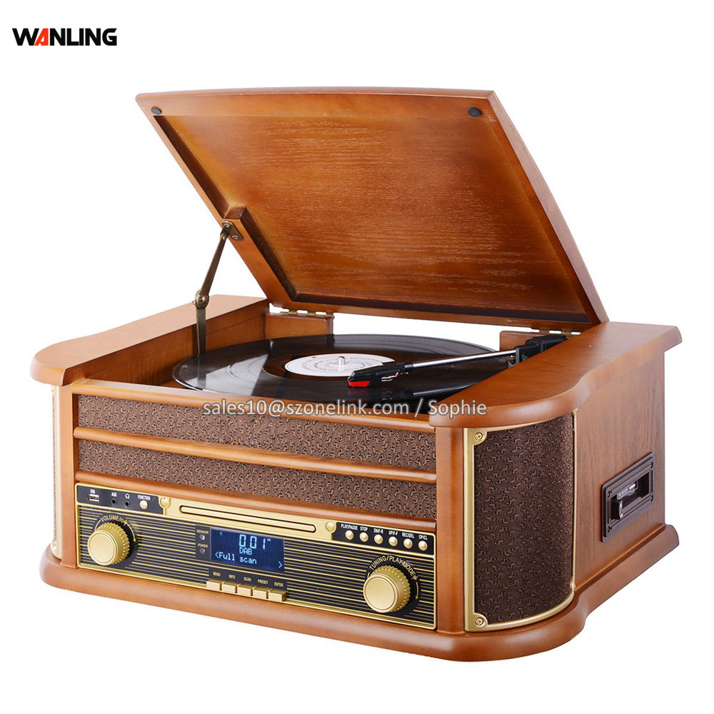 Home Audio Equipment Portable Radio CD Record Player Retro Turntable Hot Sale