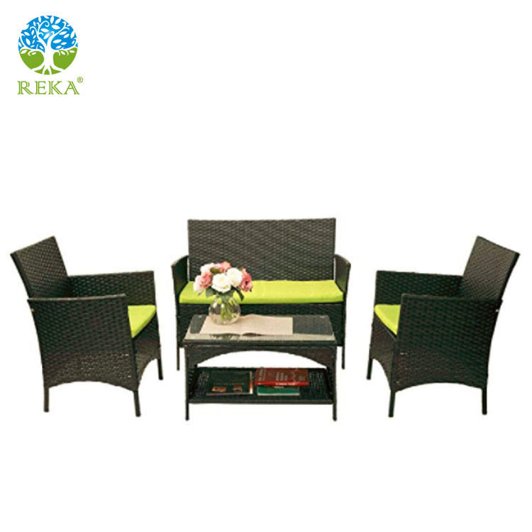 4 stks Outdoor PE Rieten Patio Set Tuin Gazon Rotan Sofa Meubels