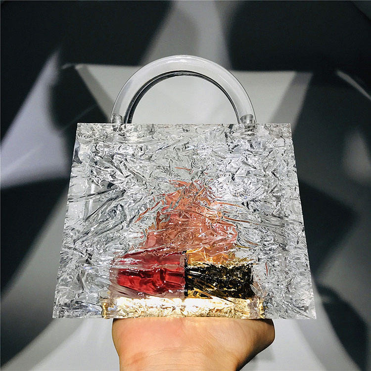 clear ice cracked acrylic crystal party purses for women wedding Evening Bags