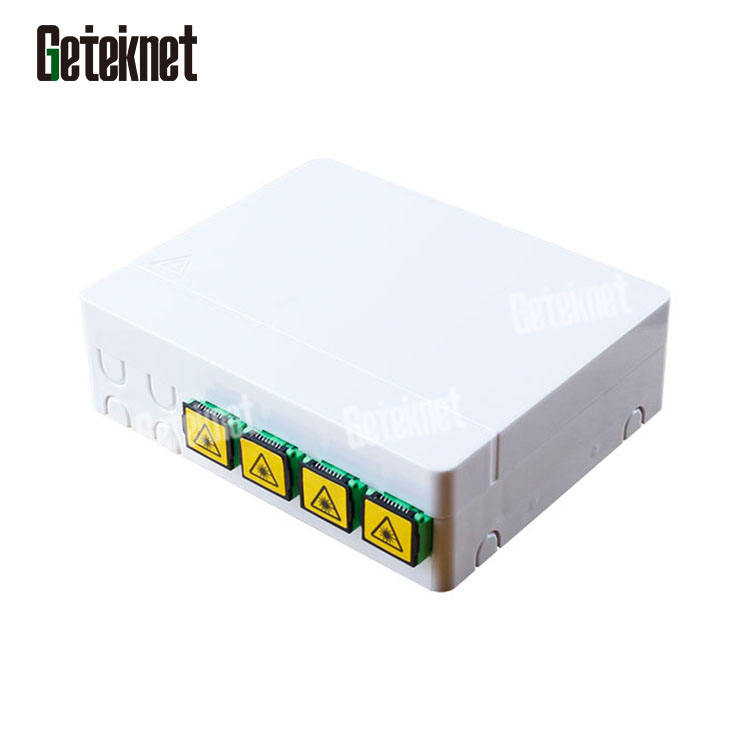 4C FTTH wall outlet SC LC terminal box 4port mini distribution box with adaptors pigtails fiber optical face plate