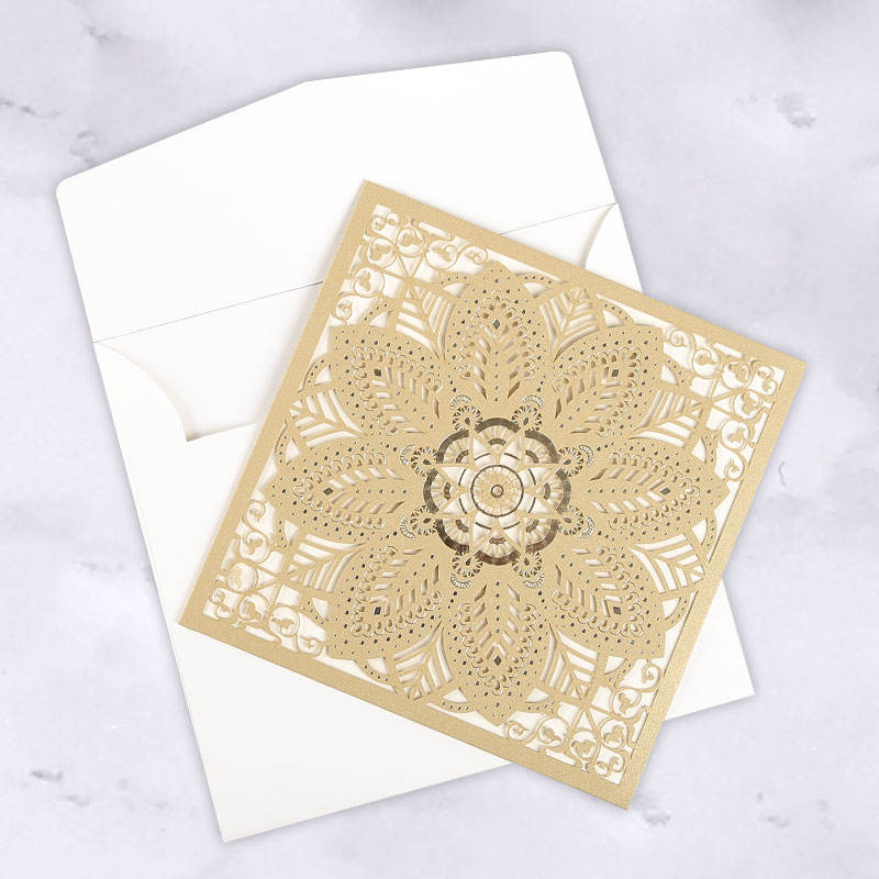 Gold indian wedding cards invitation pakistani vintage wedding invitation