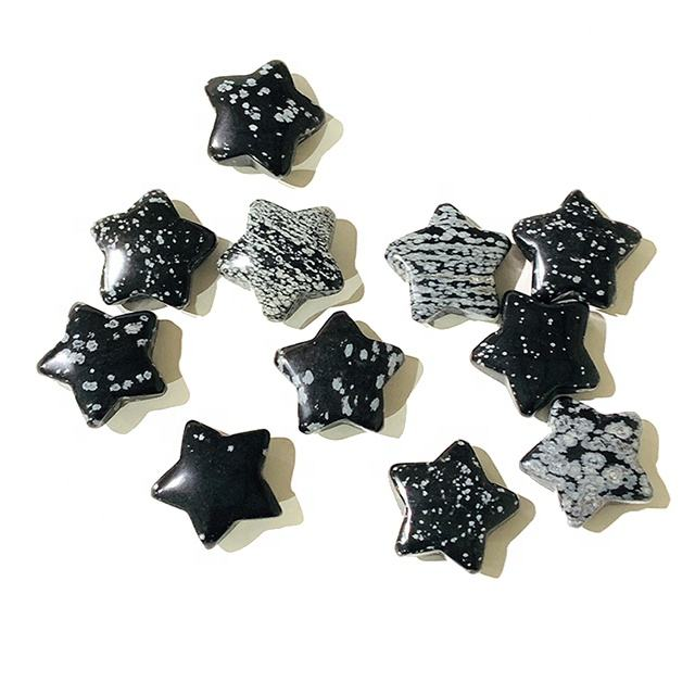 wholesale natural crystal pentacles shaped pendant star snowflakes obsidian pendant for gift