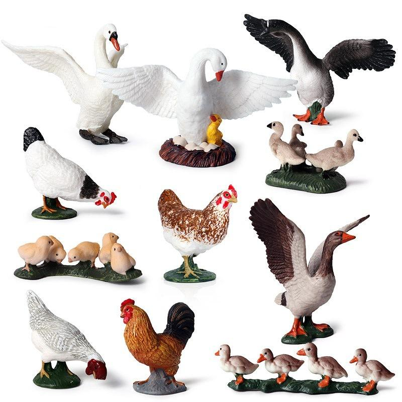 11pcs Simulation Farm duck chicken goose Model Figurines Farm Theme Action Figures poultry farms