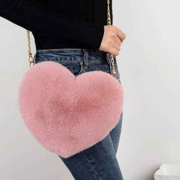 Fashion Heart Shaped Crossbody Bag for Women Faux rabbit fur Love Flush Shoulder Bag Gift Lady Outdoor Bag
