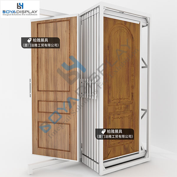 customized sliding wooded door display rack stand with door frame
