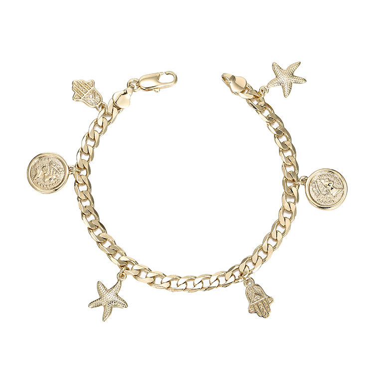 Xuping new arrival fashion wholesale jewelry 14k gold plated chain design custom charm bracelet