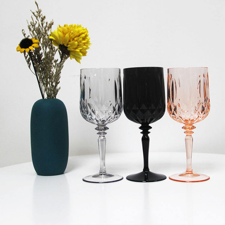 Wholesale old fashion Goblet Wine Glass Cup plastic reusable champagne wine glass
