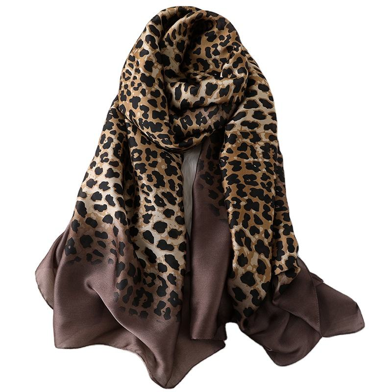2019 Collection Design Chinese Silk Women Printed Long Hijab Shawl Women Leopard Grain Silk Scarf