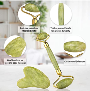 Wholesale High Quality Anti Aging Beauty Skin Facial Massage Natural Stone Green Face Jade Roller Gua Sha Set