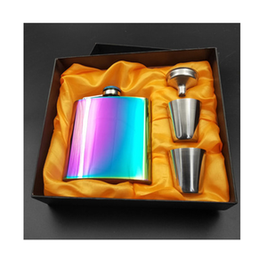 6 Oz Stainless Steel Hip Flask Set dengan Gelas Rainbow Plating