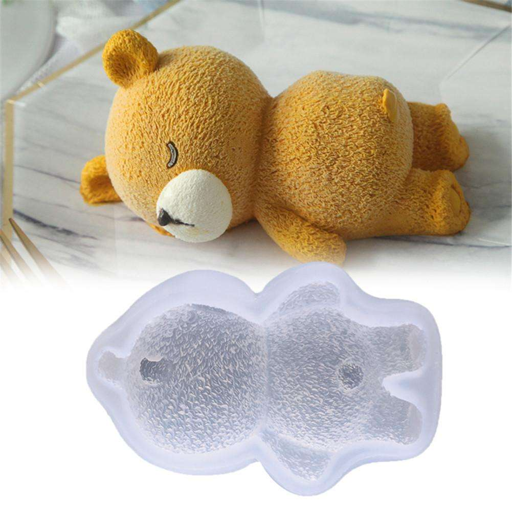 Sleeping Bear Pet Molding Chocolate Silicone Mould Fondant Cake Soap Ice Cubes Pastry Candy Mold Baking Cake Decorating Tools